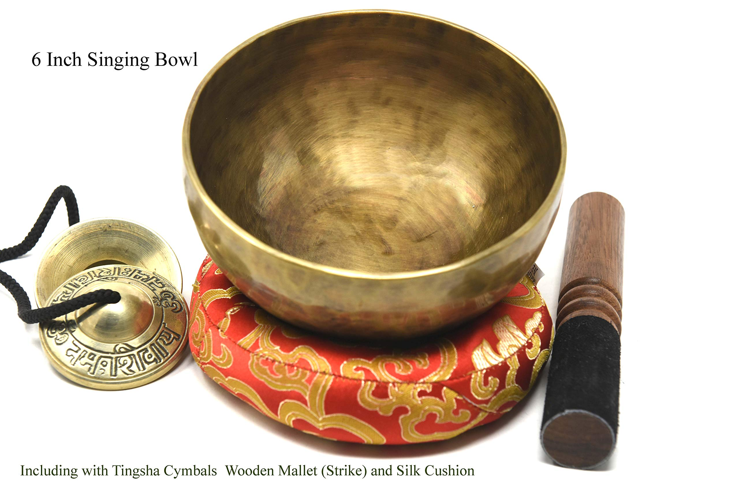 Hand Hammered Tibetan Meditation Singing Bowl 6 Inches - Yoga Old Bowl (Original Version) Including Tingsha Cymbals, Silk Cushion and Wooden leather wrapped mallet. by TM THAMELMART FOR BEAUTIFUL MINDS