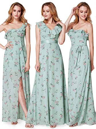 EverPretty Womens Elegant VNeck Lotus Leaf Bridesmaids Dresses Enchanting Floral Pattern Bridesmaid Dresses