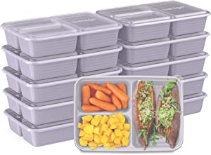 Bentgo Prep 3-Compartment Meal-Prep Containers with Custom-Fit Lids - Microwaveable, Durable, Reusable, BPA-Free, Freezer and Dishwasher Safe Food Storage Containers - 10 Trays & 10 Lids (Lilac)