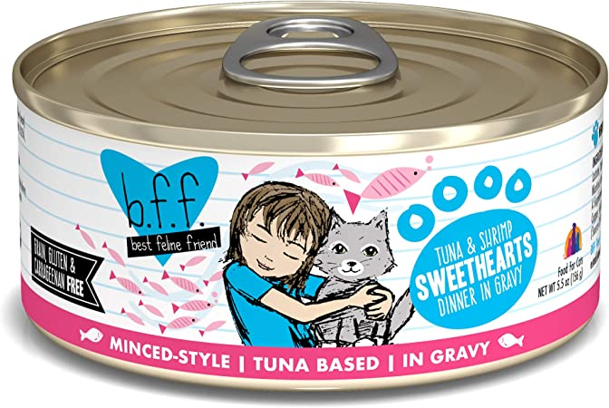 Amazon Com Best Feline Friend B F F Grain Free Cat Food By Weruva Tuna Shrimp Sweethearts 5 5 Ounce Can Pack Of 24 Pet Supplies