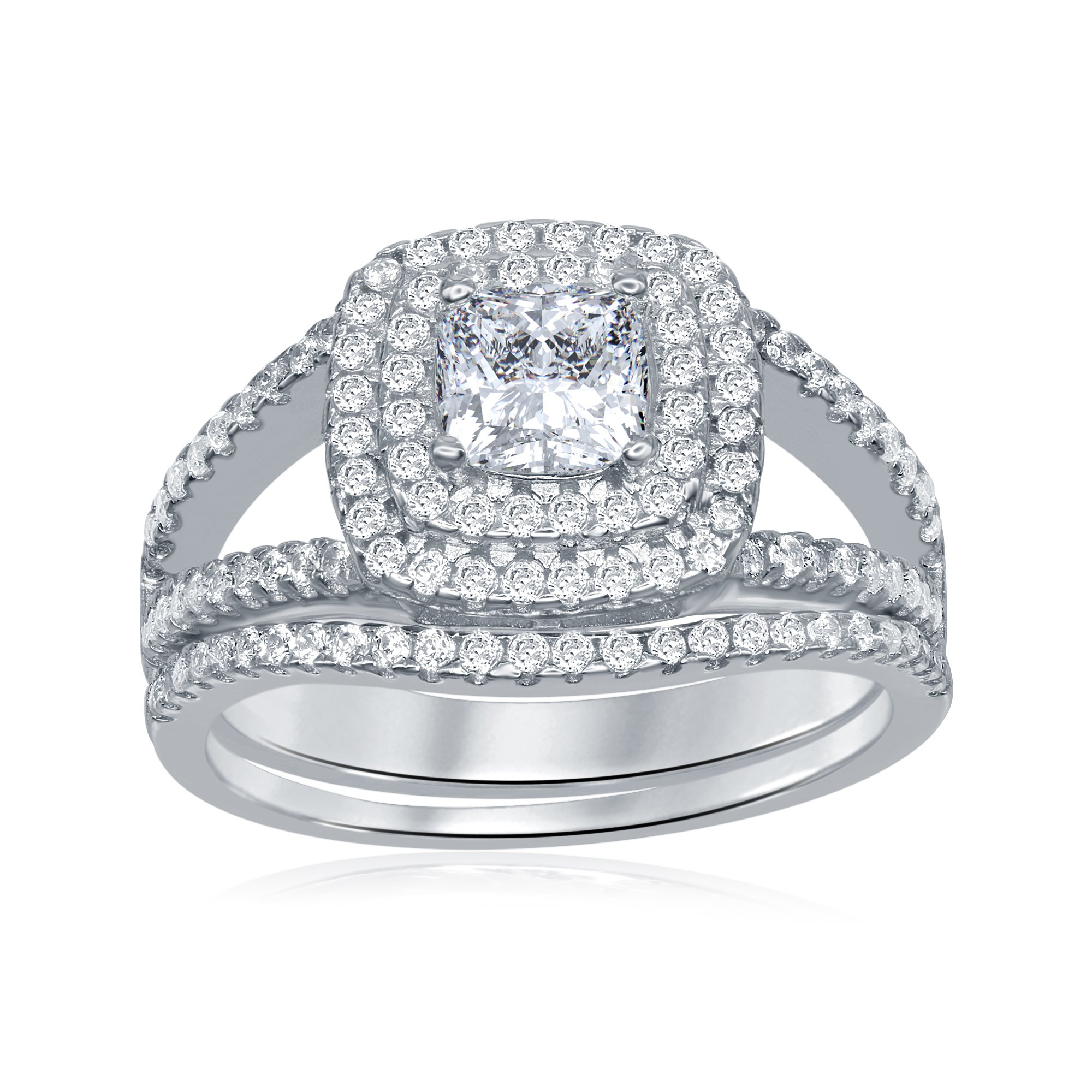 AceLay Womens Gift Bridal Set Brilliant Cubic Zirconia 925 Sterling Silver Wedding Band Engagement Ring 2PC Size 5-10 Promise Anniversary Jewelry (7)