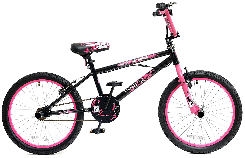 Zombie Outbreak Girls Kids 20' Wheel Freestyle BMX Bike with Gyro Black Pink