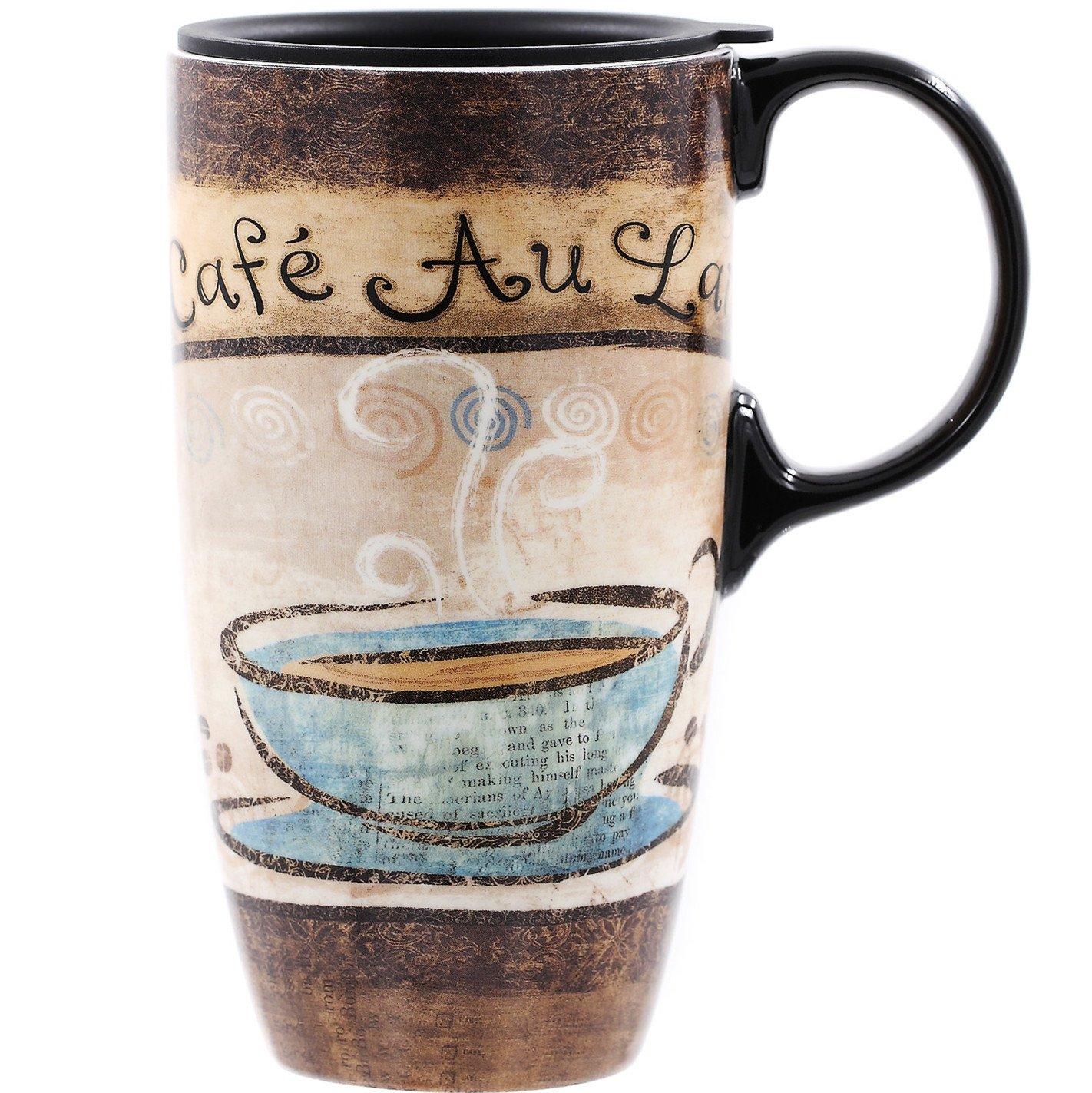 CEDAR HOME Travel Coffee Ceramic Mug Porcelain Latte Tea Cup With Lid 17oz. Love Coffee