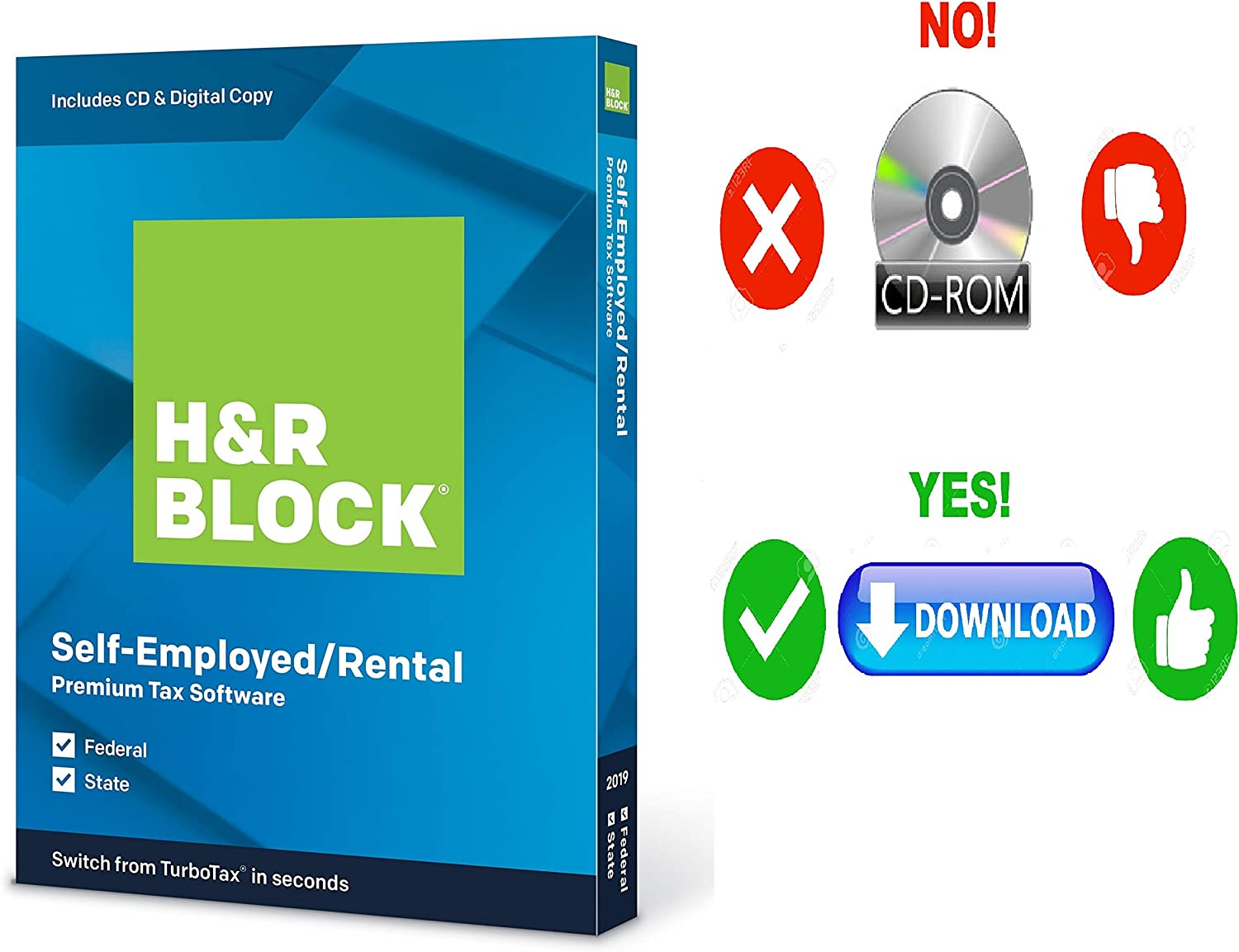 HR Block Premium 2019 Tax Software For self-employed/1099-MISC or rental property owners | 5 Fed E-File + State| [PC/MAC D0WNL0AD+CODE ONLY: Not CD]