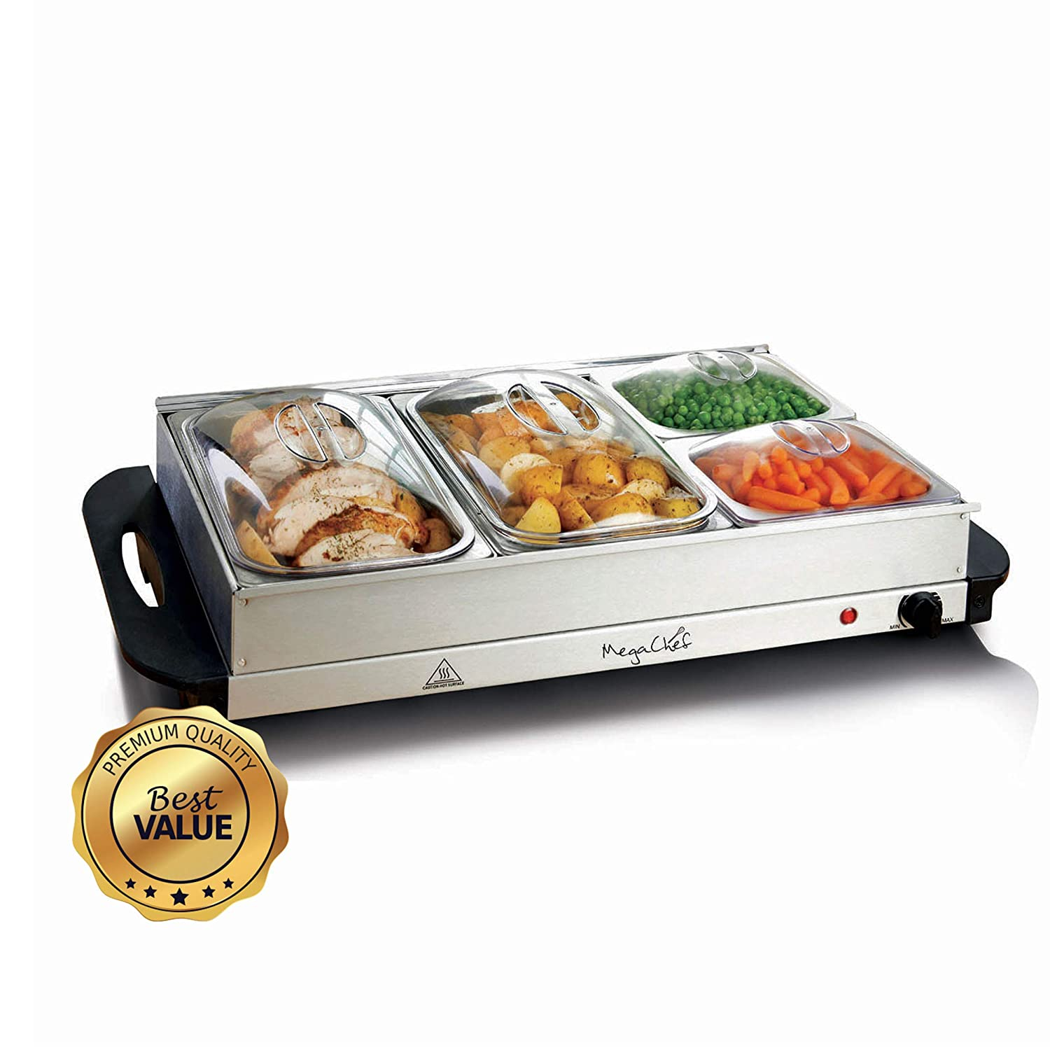 Megachef 93090024M Buffet Server-Professional Hot Plate Food Warmer Station, Easy Clean Stainless Steel, Portable & for Parties, 4 Section, Silver