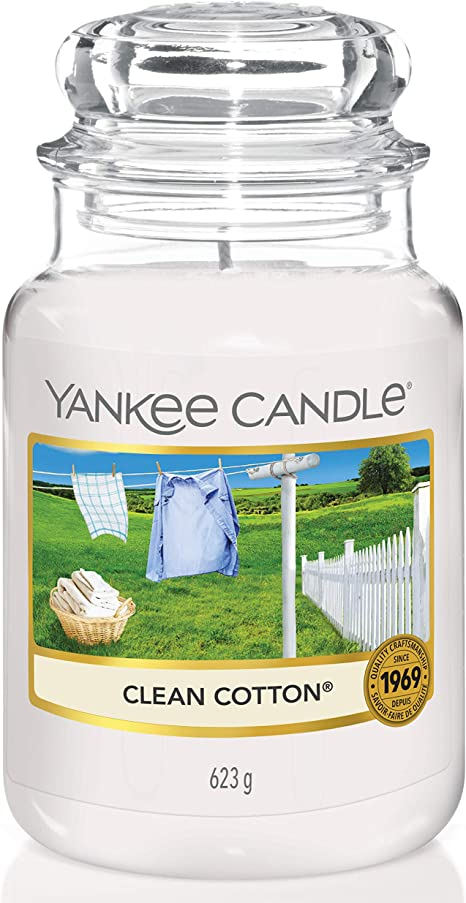 Amazon Com Yankee Candle Large Jar Scented Candle Clean Cotton Up To 150 Hours Burn Time Kitchen Dining
