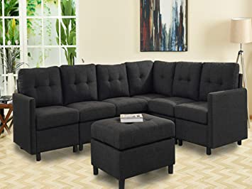 Amazon Com 7 Pieces Indoor Modular Sectional Sofas With Storage