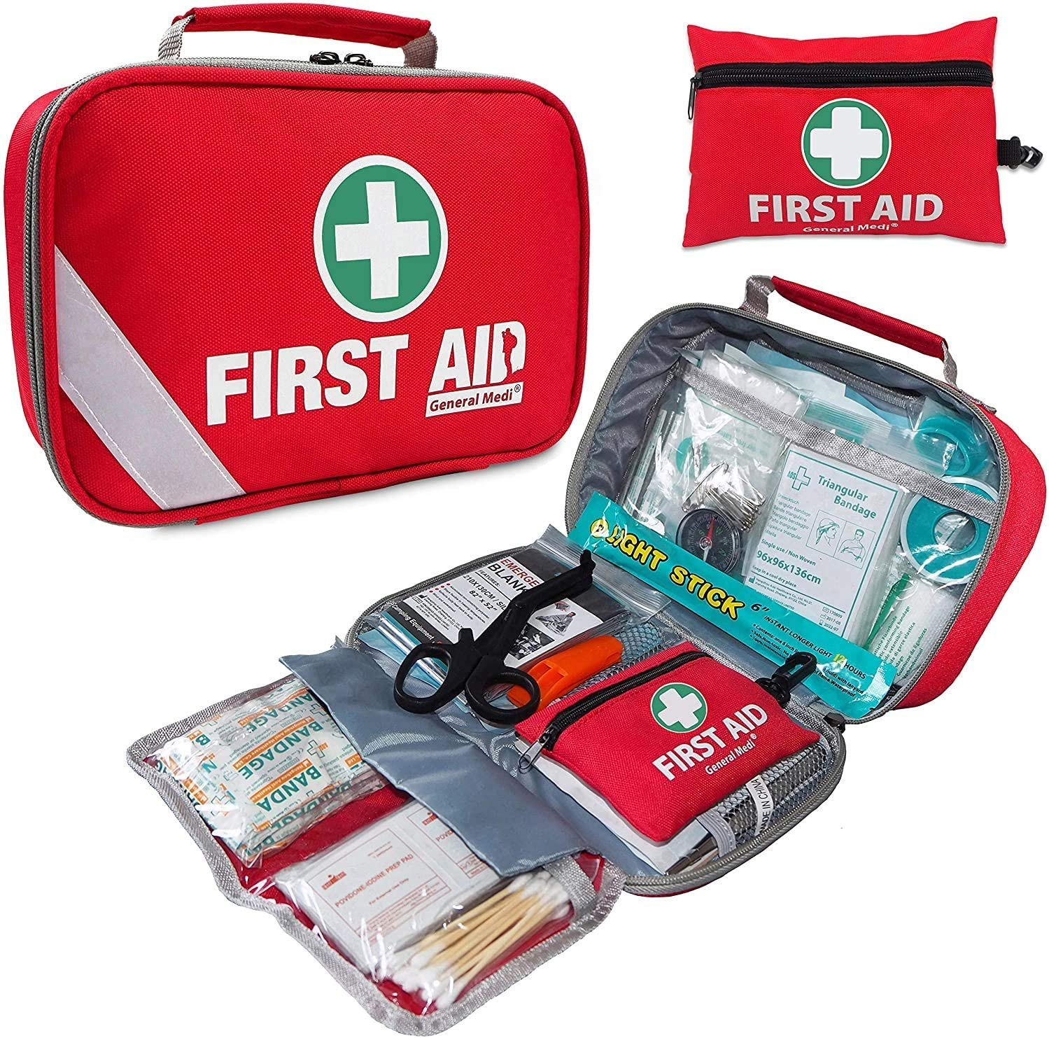 2-in-1 First Aid Kit (215 Piece) + Bonus 43 Piece Mini First Aid Kit -Includes Eyewash, Ice(Cold) Pack, Moleskin Pad and Emergency Blanket for Travel, Home, Office, Car, Workplace