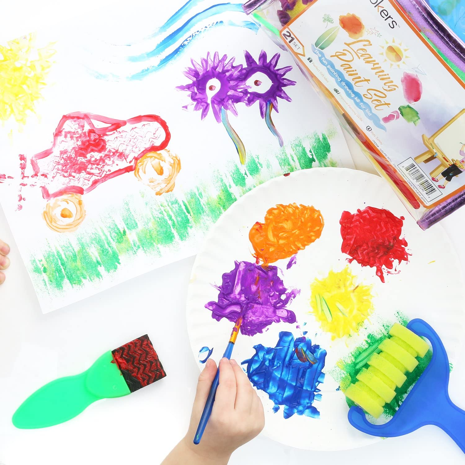 Early Learning Kids Paint Set Washable Acrylic Finger Paint with Assorted Painting Brushes Sponges Portable Case for Kids Toddlers Drawing Gifts