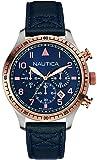 Nautica - NAI17500G - Montre Homme - Quartz Analogique - Cadran Bleu - Bracelet Cuir Bleu