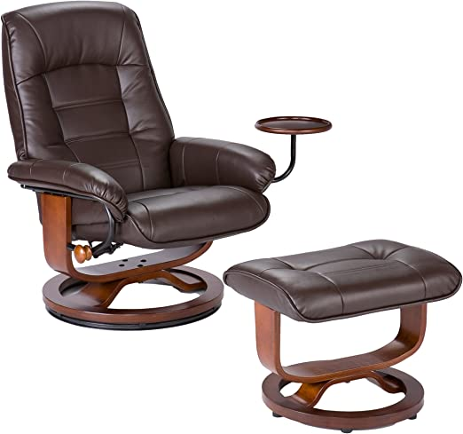 Southern Enterprises Cafe Brown Leather Recliner and Ottoman