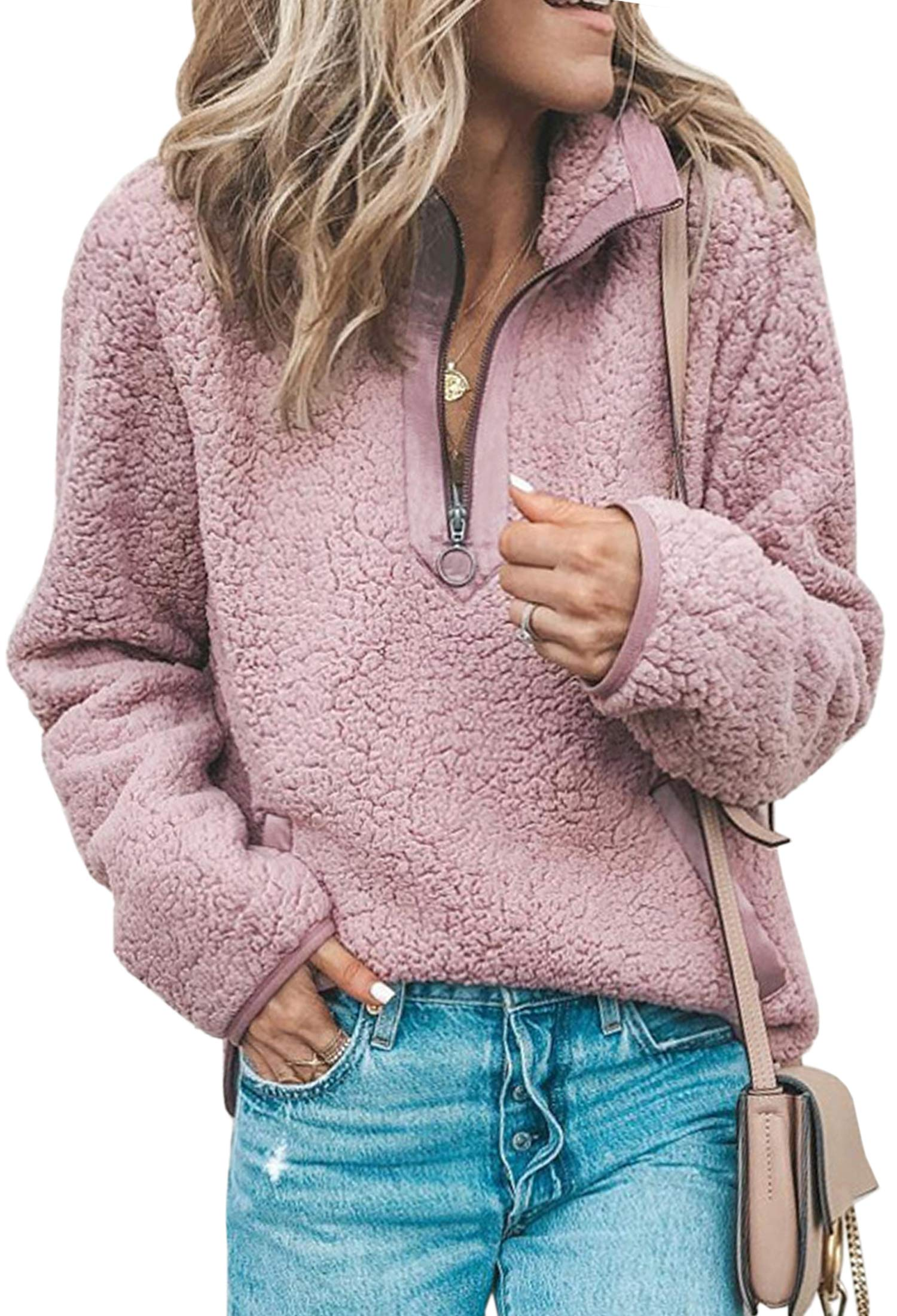 ECOWISH Women's Sweatshirt Stand Collar Half Zipper Fleece Pullover Sweatshirts Coat Winter Outwear with Pockets Pink Medium by ECOWISH