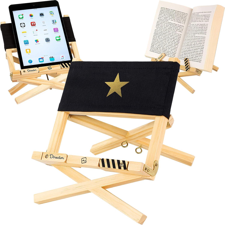 Atril, Soporte de lectura - para libro, tablet, iPad, eReader – regalo para lectores modelo silla del director negra