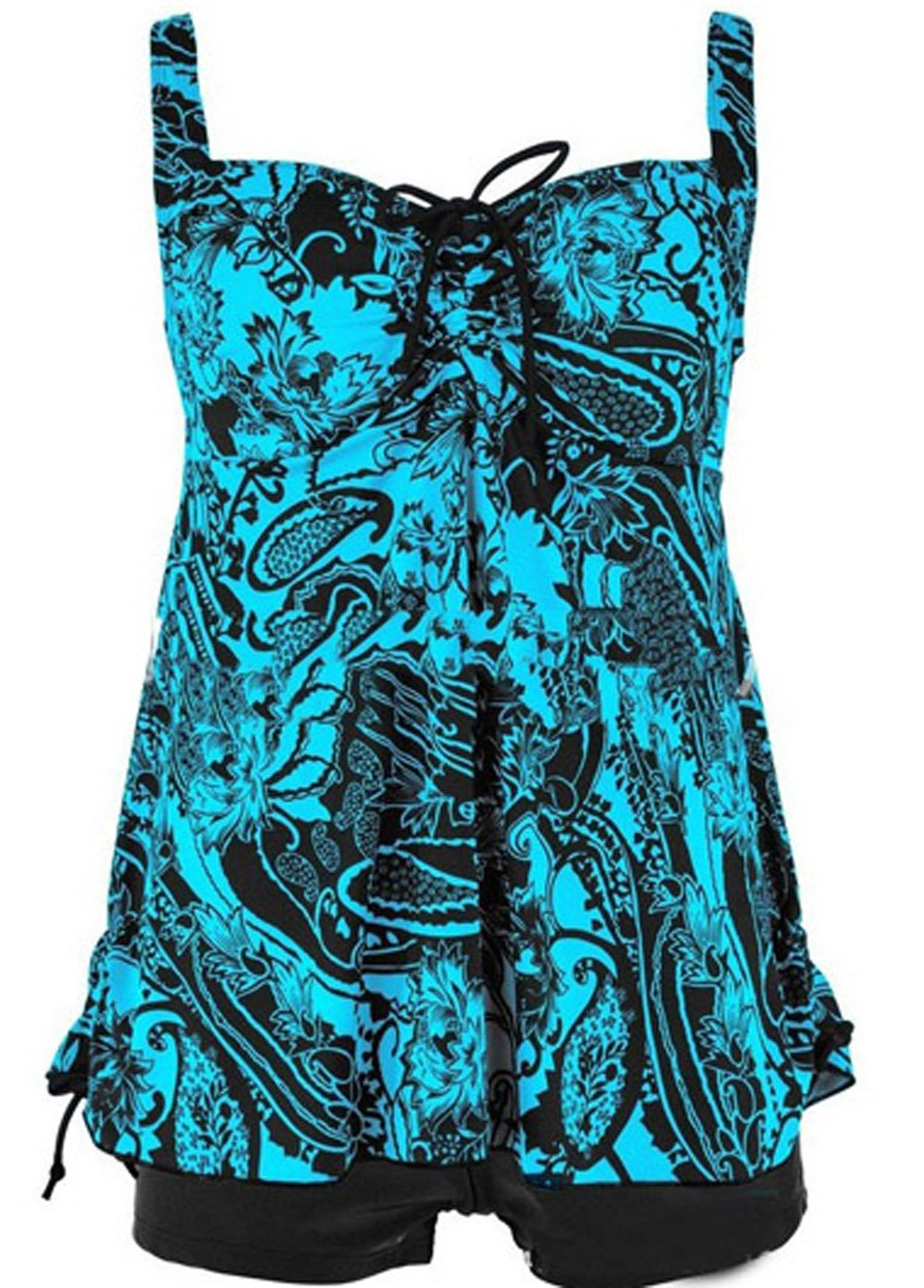 Tomlyws Women's Tankini Set Floral Printed Swimsuit Two Piece Summer Swimwear Lake Blue XXL