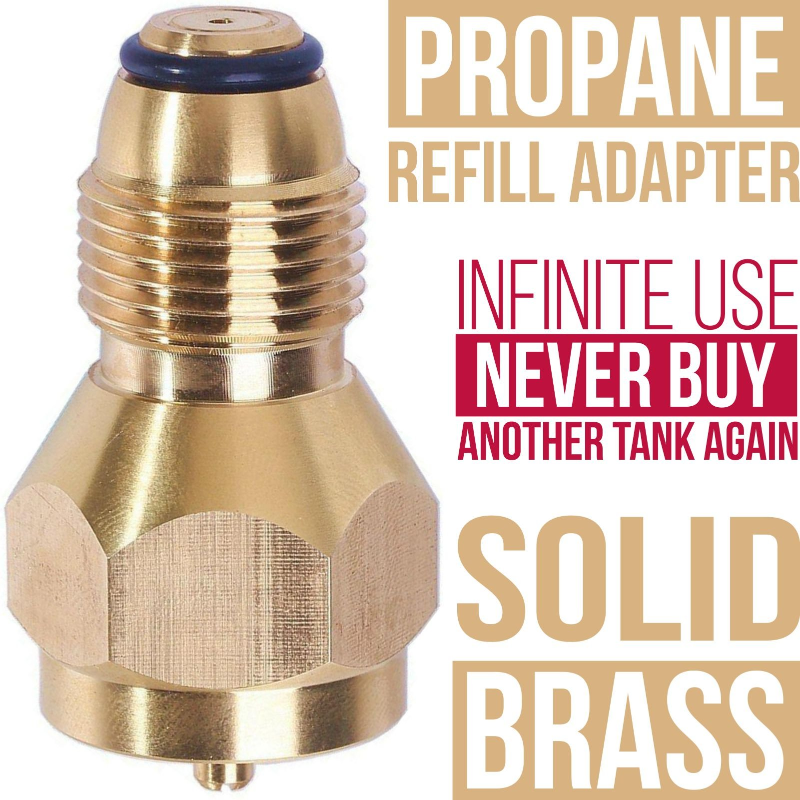 Grandarëk Propane Refill Adapter Lp Gas 1 Lb Cylinder Tank Coupler Heater Coleman Bottles 100% Solid BRASS for Ice Fishermen, mountain men Outdoorsmen, and all Campers and power outages
