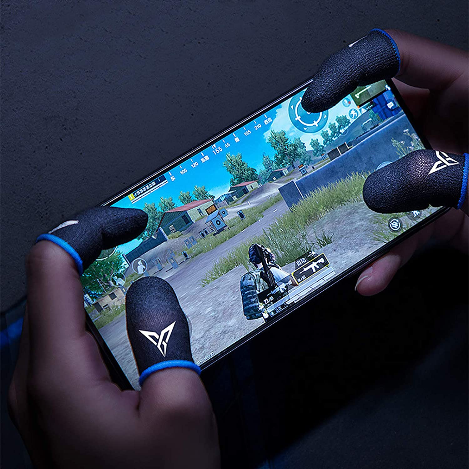 Mobile Game Non-Slip Finger Sleeves for PUBG Phone Games Touch Screen Finger Caps Gloves Sweat-Proof Thumb Cover Mobile Phone Accessories Blue-Black 1 Pair
