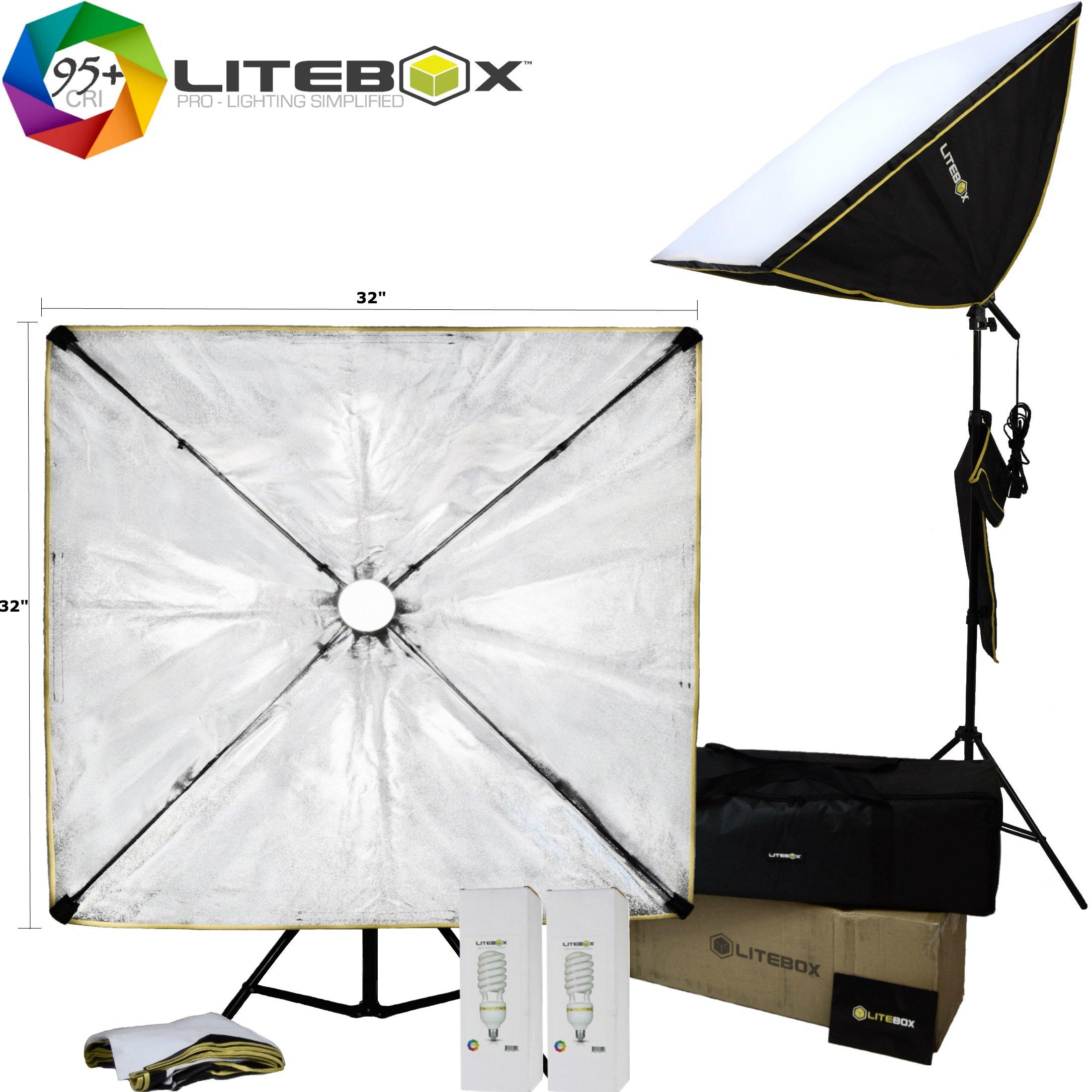 LITEBOX | 32'' x 32'' Large Photography Softbox Lighting Kit - Professional Photo/Video Bulbs, Stands, Travel Bag - 5500K Daylight