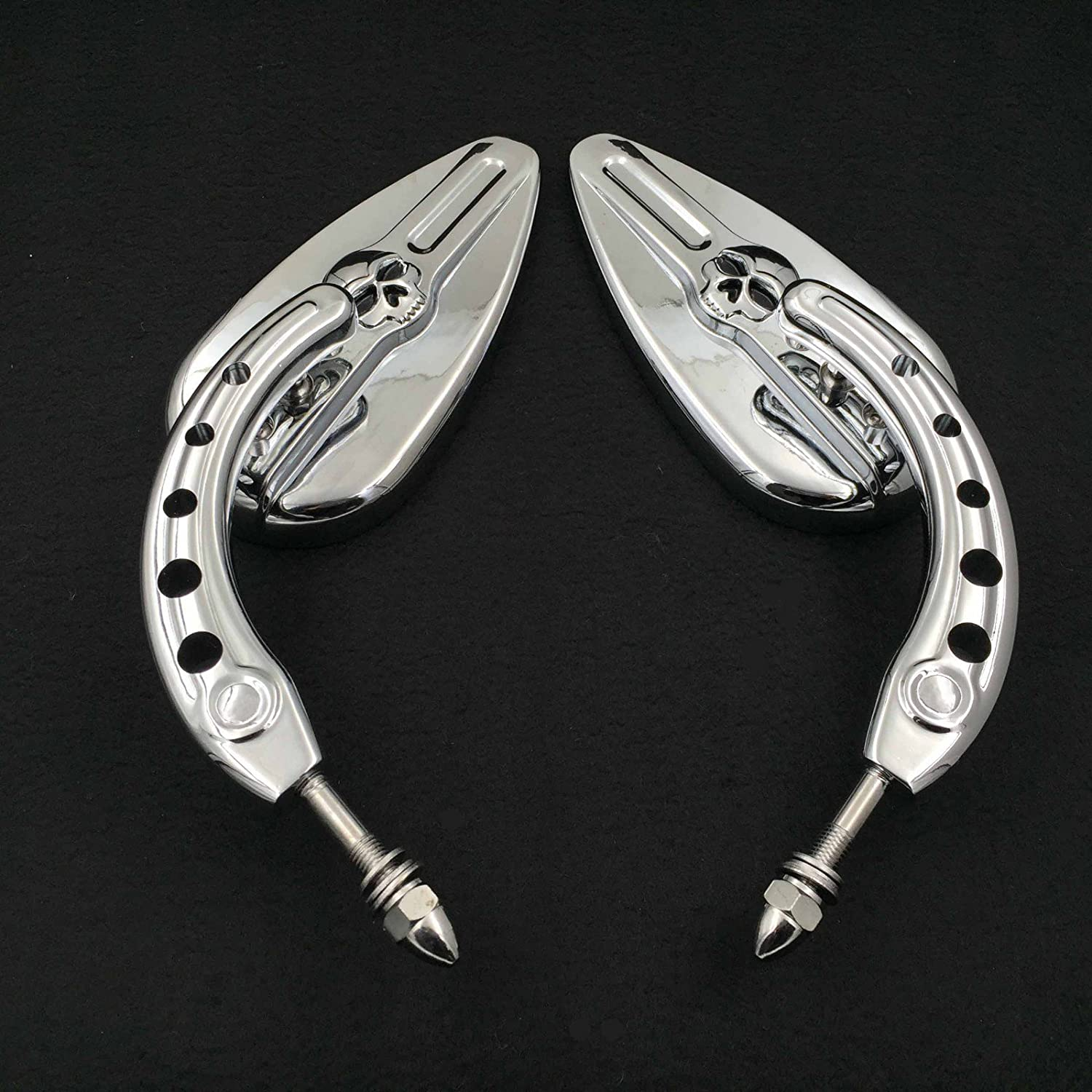 HTT Motorcycle Chrome Skull Side Mirrors For 1984 and up Harley Davidson Dyna Street Bob Low Rider Fat Bob Wide Glide Switchback CVO Street Glide Trike Freewheeler Tri Glide Ultra