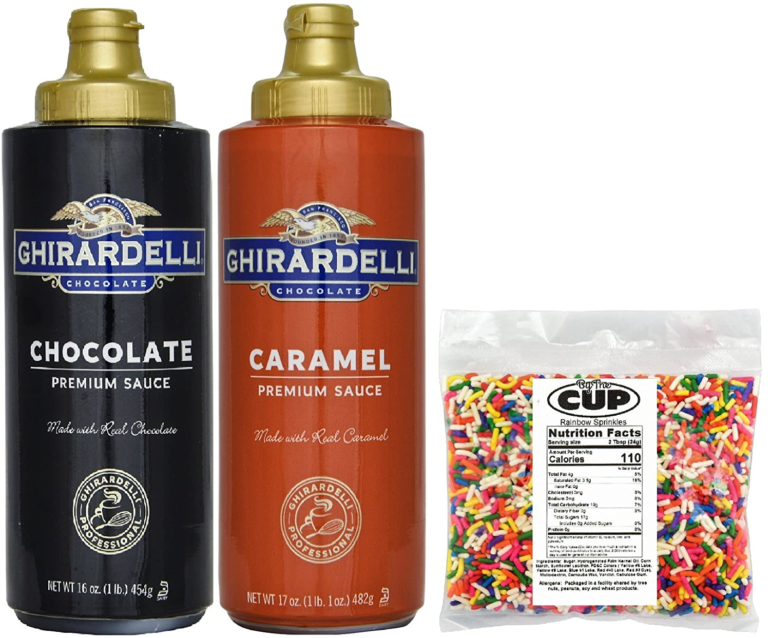 Ghirardelli - 16 Ounce Chocolate & 17 Ounce Caramel Sauce Squeeze Bottles (Pack of 2) - with 4 Ounce Bag By The Cup Rainbow Sprinkles