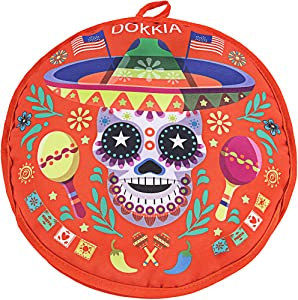 DOKKIA Tortilla Warmer 12 Inch Insulated Cloth Pouch - Microwavable Use Fabric Bag to Keep Food Warm for up to One Hour (12 Inch, Skull Day of The Dead Sombrero Maracas)