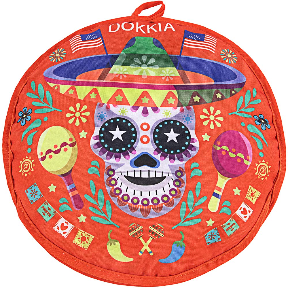 SPAREE Tortilla Warmer 12 Inch Insulated Cloth Pouch - Microwavable Use Fabric Bag to Keep Food Warm for up to One Hour (12 Inch, Skull Day of The Dead Sombrero Maracas) by SPAREE