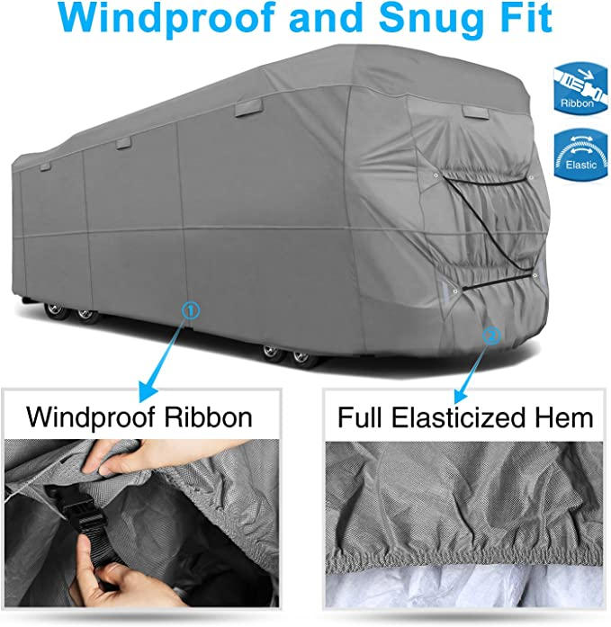 Fits 311-34 RVs RVMasking Upgraded Waterproof 5th Wheel RV Cover Easy Installaiton Anti-UV Ripstop Camper Cover with Adhesive Repair Patch