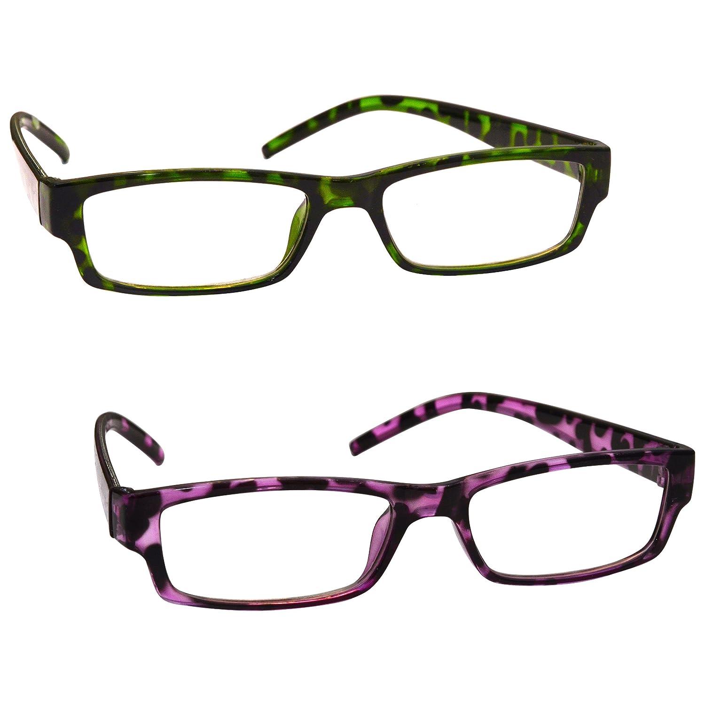 La Compañía Gafas De Lectura Verde Púrpura De La Concha Pack 2 Mujeres Señoras UVR2PK009_009PP Diopt...
