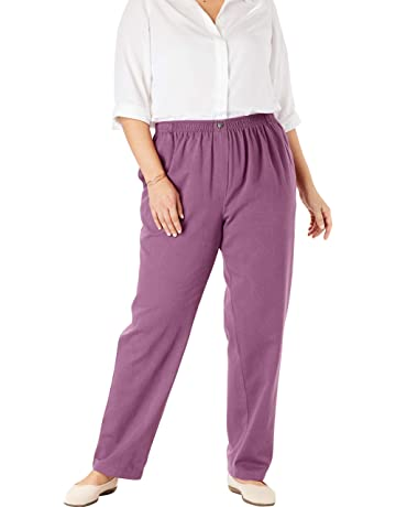 fb79372113 Woman Within Women's Plus Size Petite Elastic-Waist Cotton Straight Leg Pant