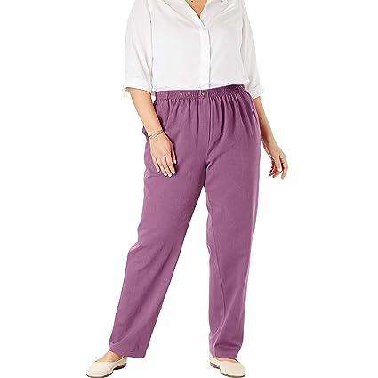 cd777ed707f Woman Within Women's Plus Size Elastic-Waist Cotton Straight Leg Pant at  Amazon Women's Clothing store: