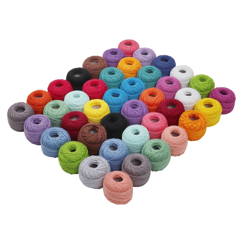 Hilo de tejer - 42 piezas Hilo de algodón - Hilo de ganchillo 74 ...
