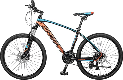 Merax 26 inch Mountain Bike, Aluminum Mountain Bike 24 Speed Mountain Bicycle with Suspension Fork (Blue & Orange)