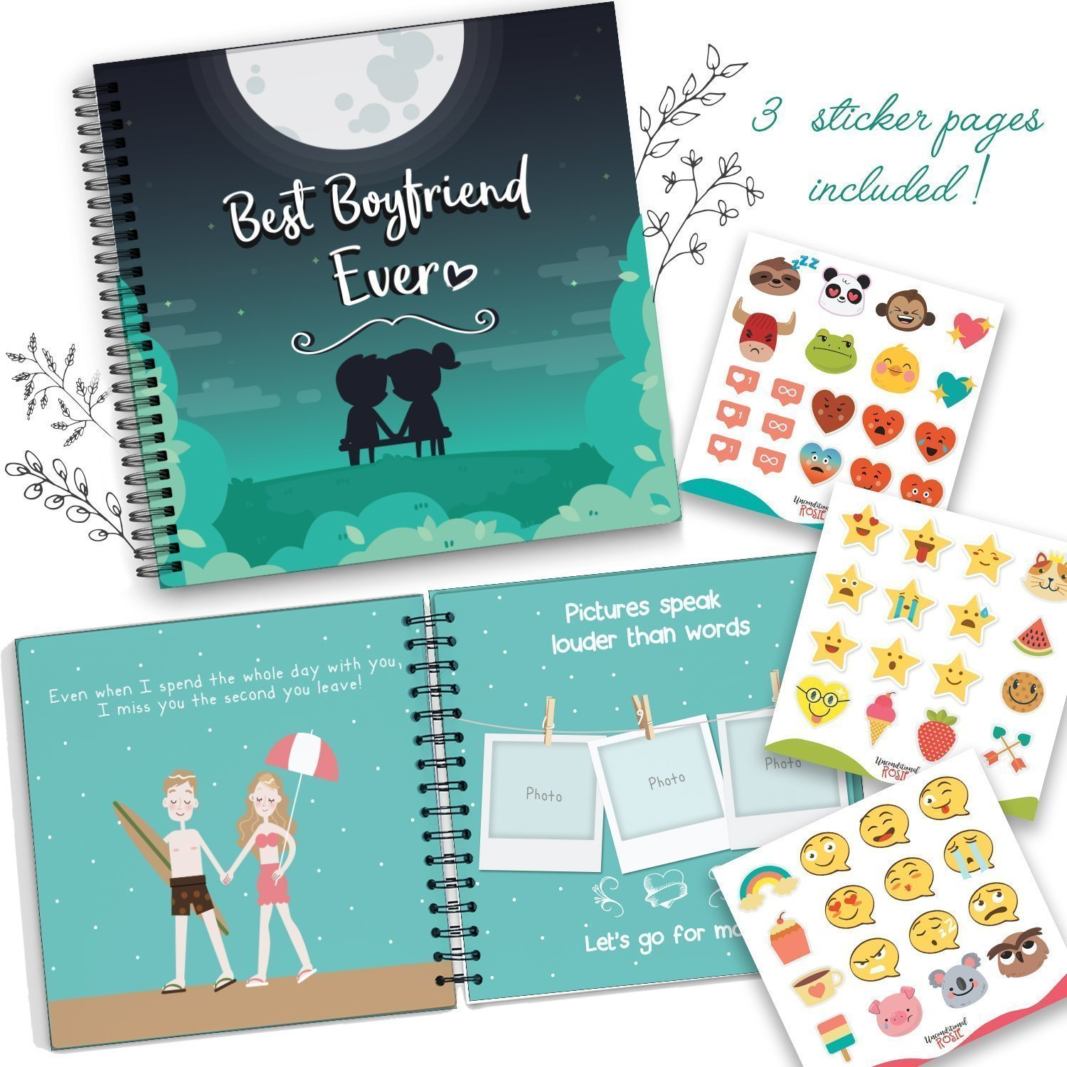 Best Boyfriend Ever Memory Book - The Best Romantic Gift Ideas For Your Boyfriend! Your BF Will Love This Cute Present For His Birthday, Valentine's Day, Christmas Or A Special Date!