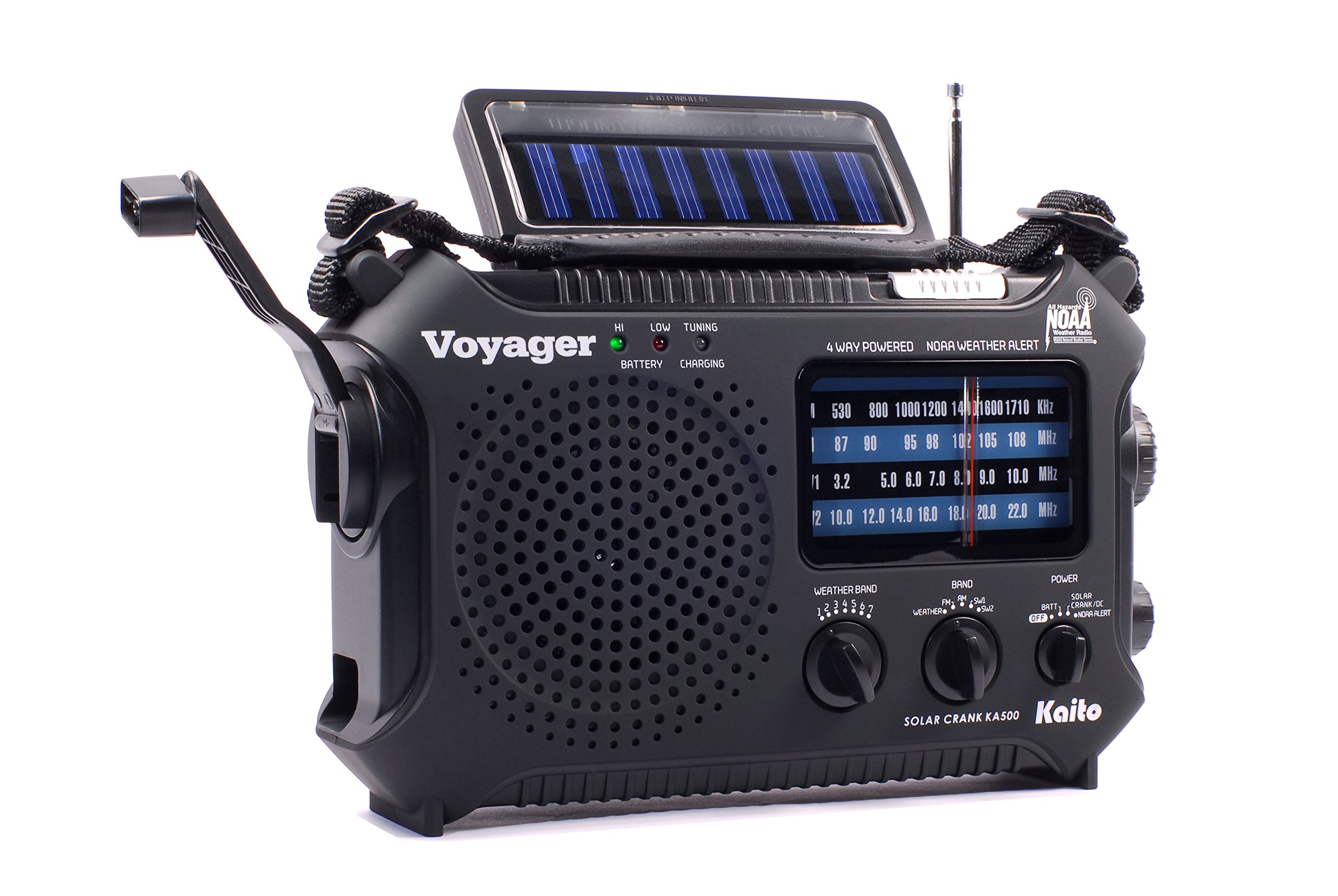 Kaito KA500 5-way Powered Emergency AM/FM/SW NOAA Weather Alert Radio with Solar,Wind Up,Dynamo Crank,Flashlight and Reading Lamp, Cellphone Charger,Color Black by Kaito