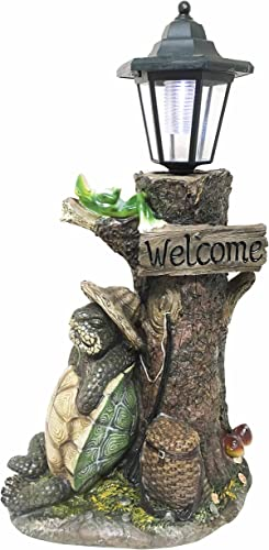 Ebros Gift Summer Holidays Under Shady Tree Sleeping Hiker Turtle Tortoise with Best Friend Frog Statue with Solar Powered Lantern LED Light Patio Decor Indoor Outdoor Figurine