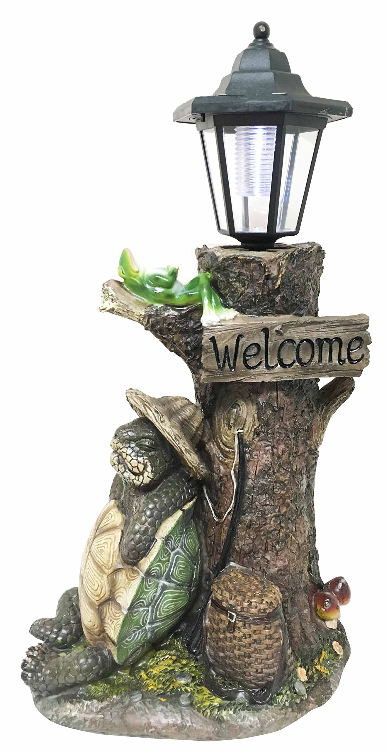 Summer Holidays Under Shady Tree Sleeping Hiker Turtle Tortoise With Best Friend Frog Statue With Solar Powered Lantern LED Light Patio Decor Indoor Outdoor Figurine