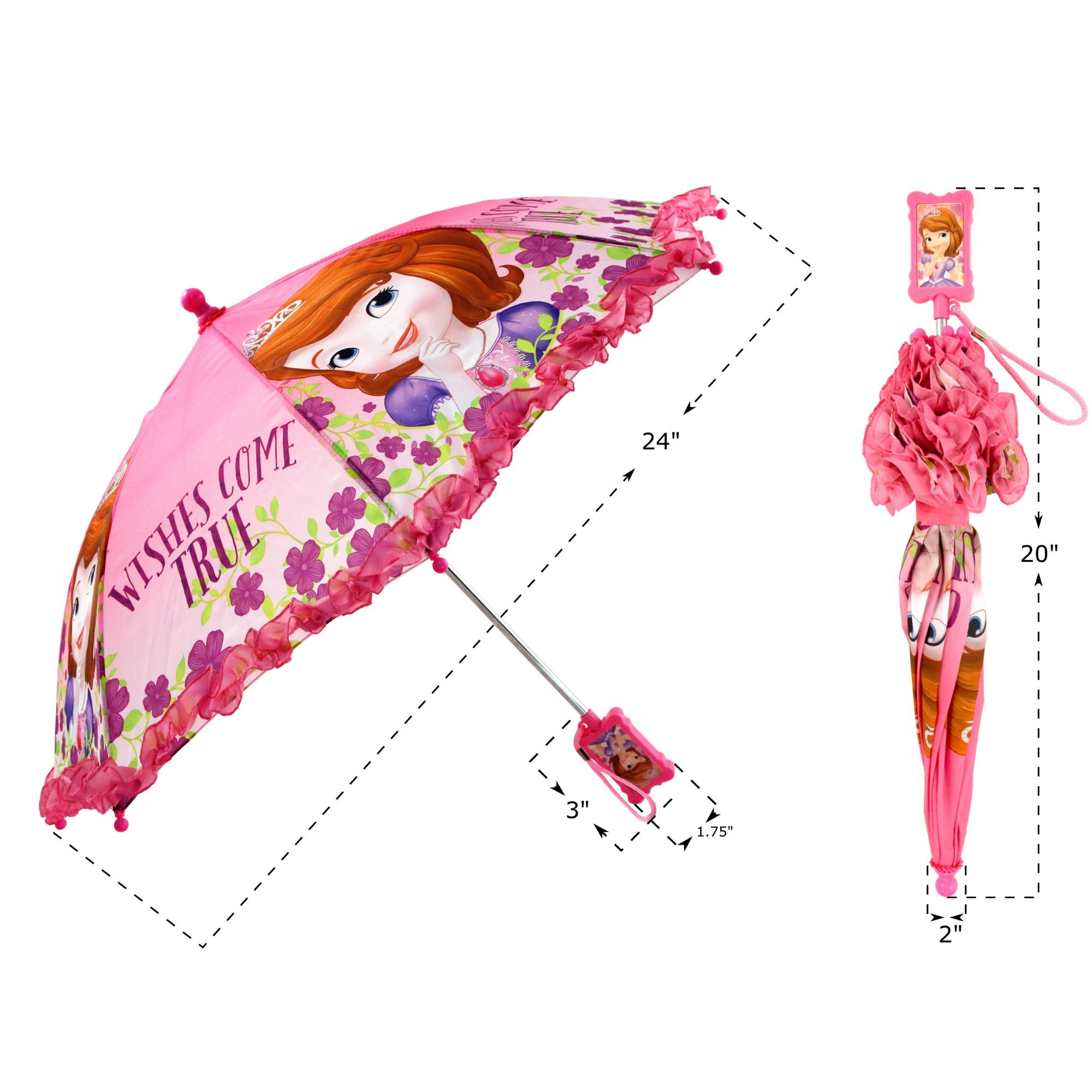 Disney Girls' Little Sofia The First Character Rainwear Umbrella, Pink, Age 3-7 by Disney (Image #7)