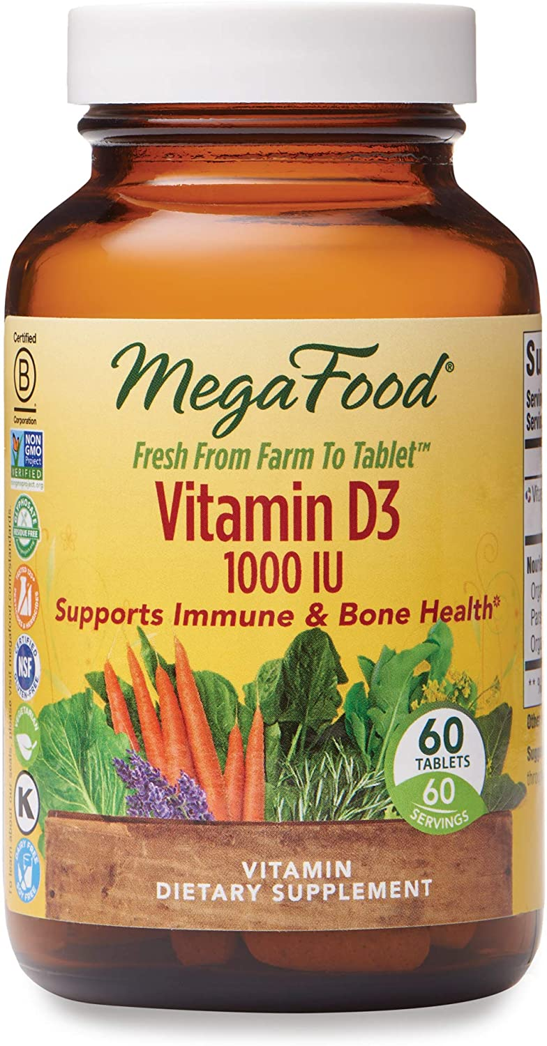 MegaFood, Vitamin D3 1000 IU, Immune and Bone Health Support, Vitamin and Dietary Supplement, Gluten Free, Vegetarian, 60 Tablets (60 Servings)
