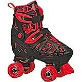 Roller Derby Trac Star Boy's Adjustable Roller Skate, Grey/Black/Red, Large (3-6)