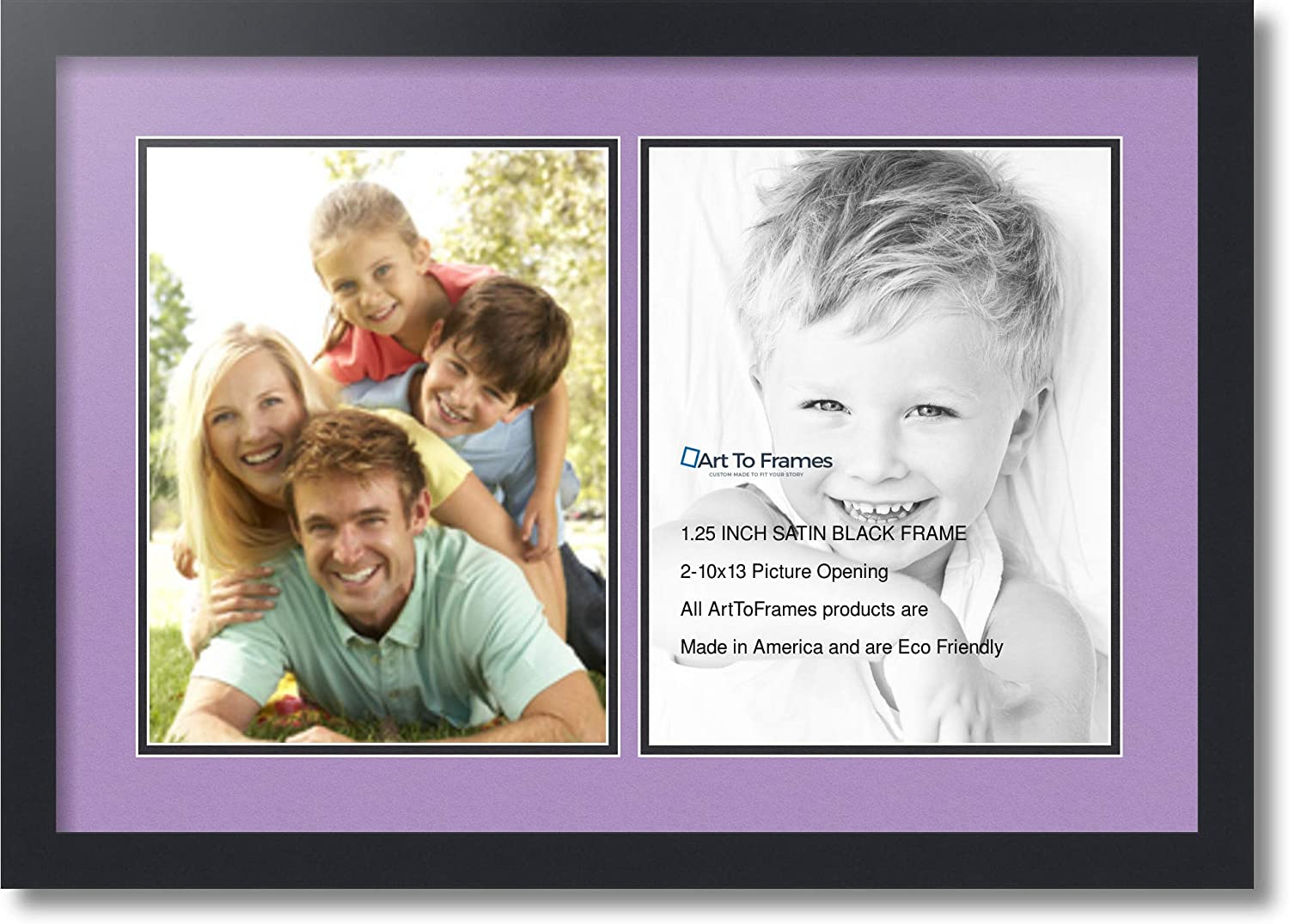 Art to Frames Double-Multimat-1416-805//89-FRBW26079 Collage Photo Frame Double Mat with 2-10x13 Openings and Satin Black Frame