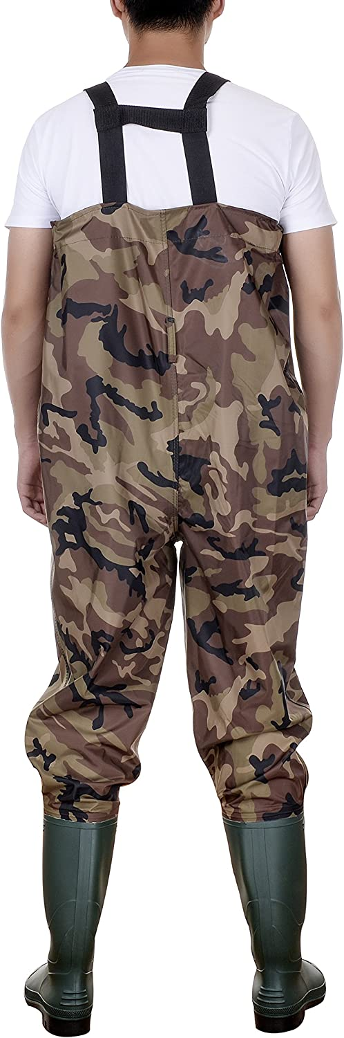 QZUnique Waterproof Nylon and PVC Cleated Bootfoot Camouflage Chest Pants Fishing Waders