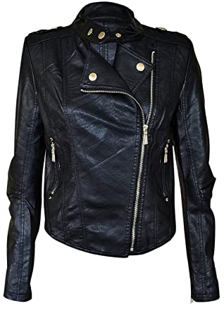 18e505a83b41 Noroze Womens Faux Leather PVC Pu Biker Gold Button Zip Crop Jacket Black 4  6 8 10 at Amazon Women's Coats Shop