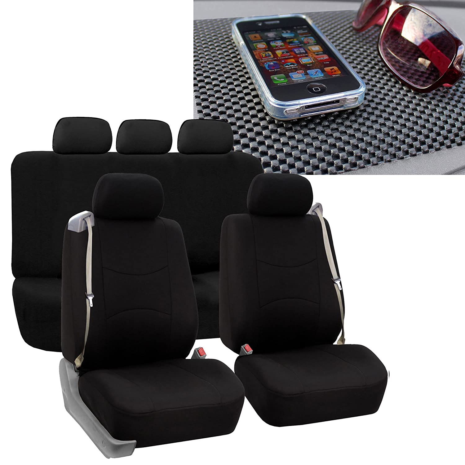 FH GROUP FH-FB351115 All Purpose Flat Cloth Built-In Seat Belt Seat Covers Solid Black Color, Airbag compatible and Split Bench W. FH1002 Non-Slip Dash Pad- Fit Most Car, Truck, Suv, or Van