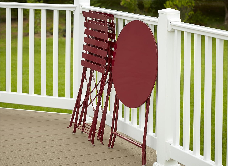 Cosco Outdoor Bistro Set, 3 Piece, Folding, Red