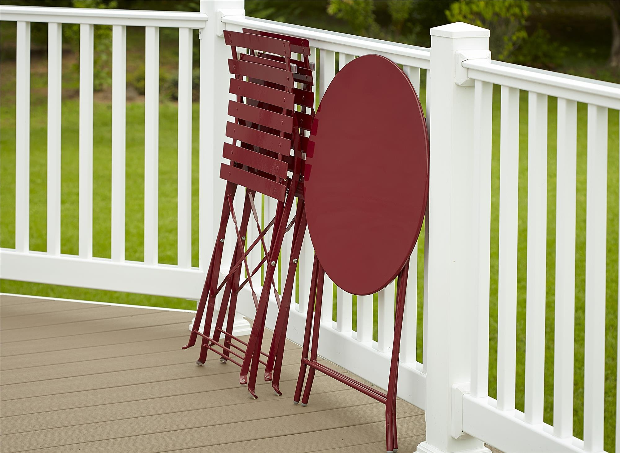 Cosco Outdoor Bistro Set, 3 Piece, Folding, Red by Cosco Outdoor Living (Image #3)