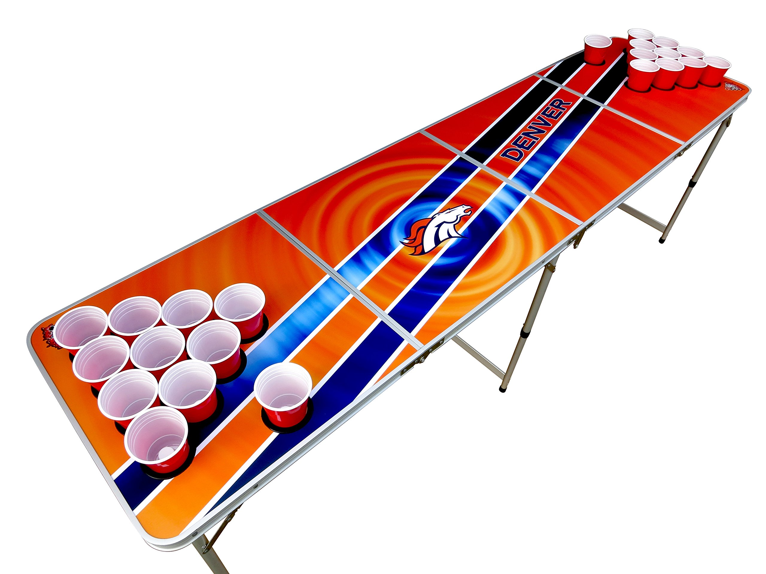Denver Beer Pong Table with Holes, 2x8, Aluminum, Portable