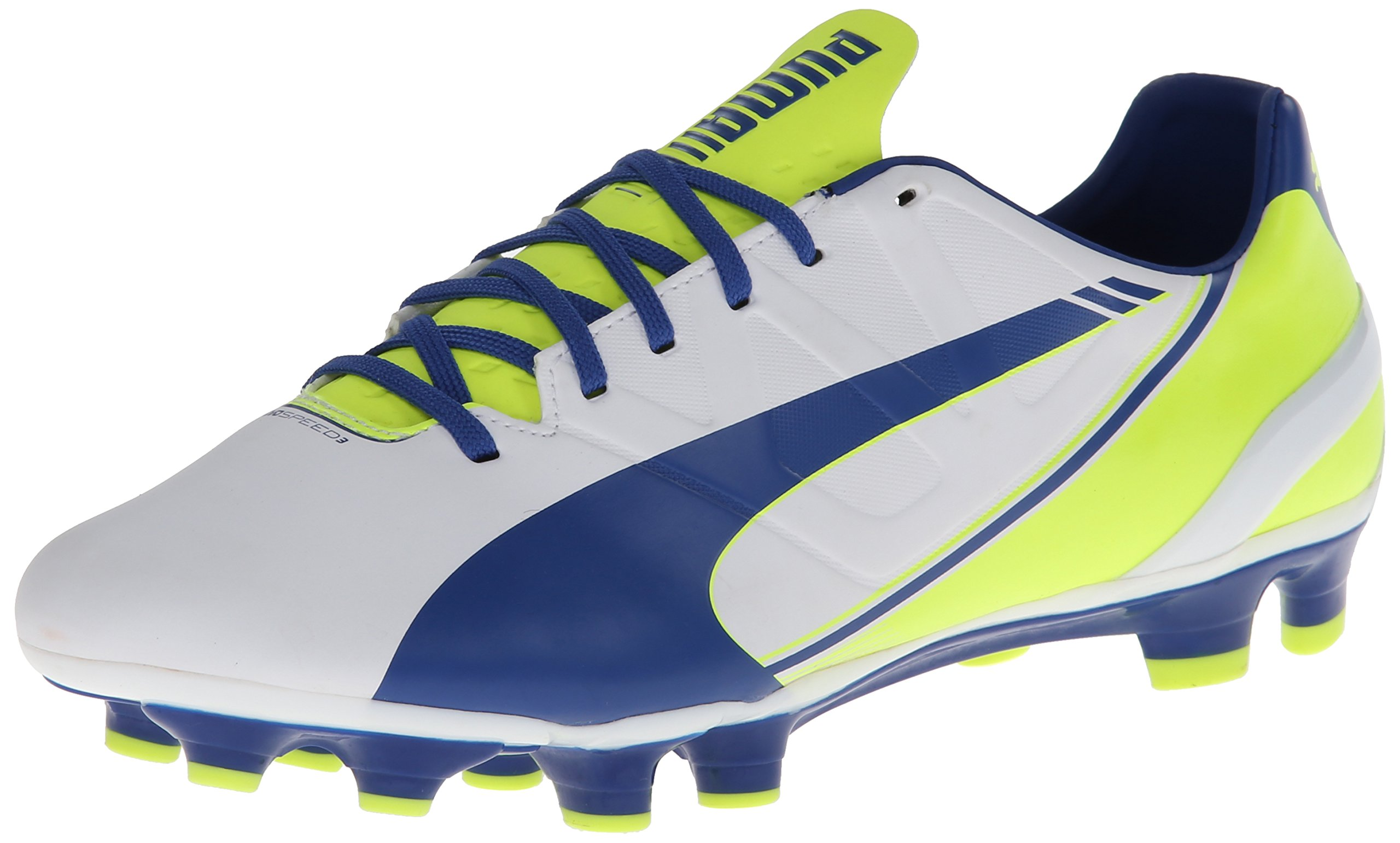 PUMA Women's Evo Speed 3.3 Firm Ground Soccer Shoe,White/Snorkel Blue/Fluorescent Yellow,8 B US