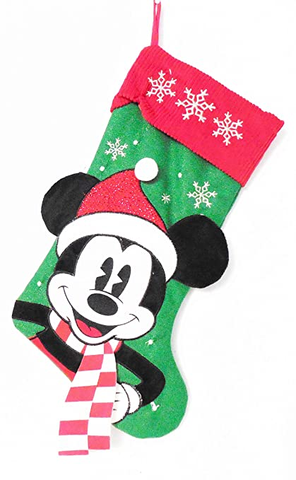 disney mickey mouse green and red 18 christmas stocking - Mickey Mouse Christmas Stocking