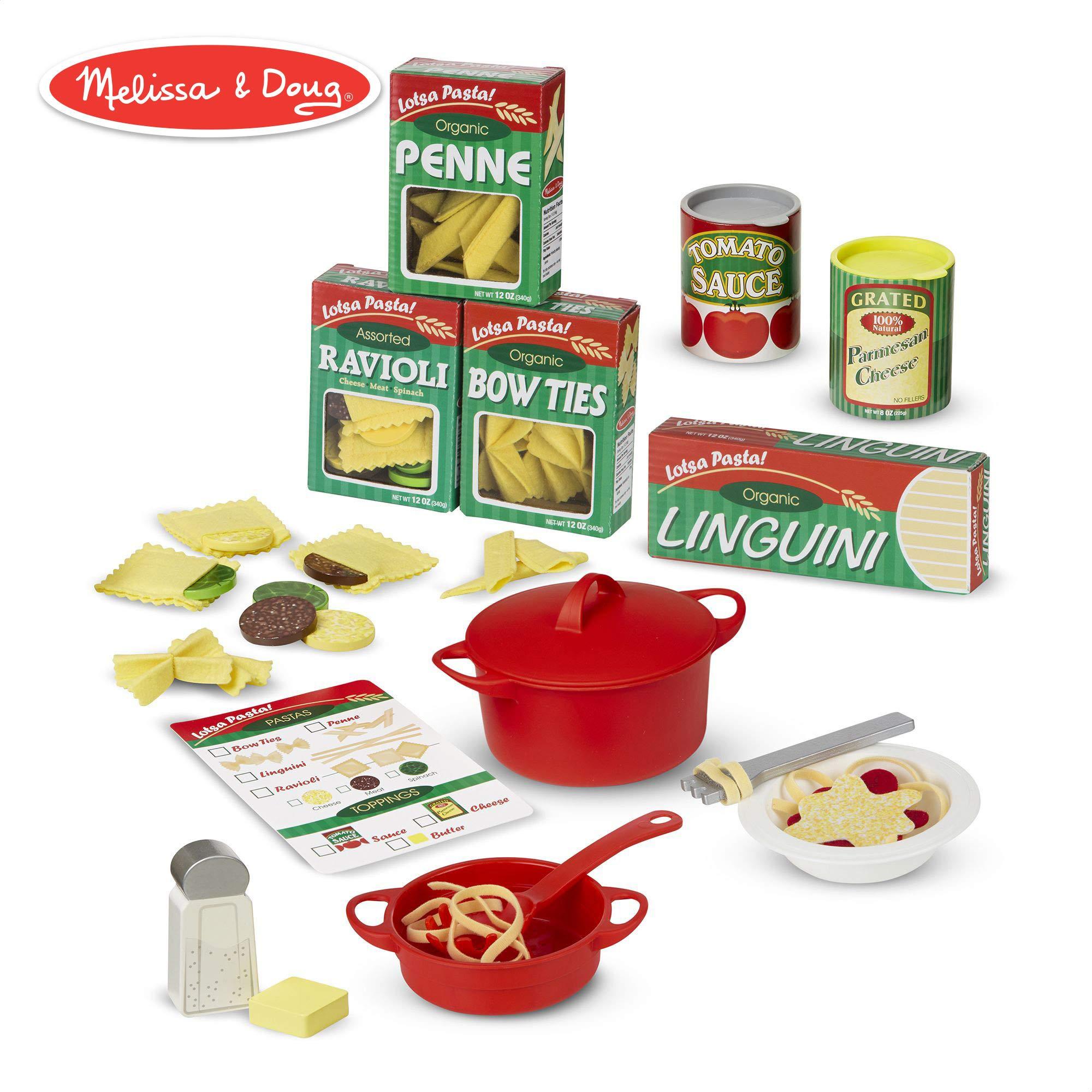 Melissa & Doug Prepare & Serve Pasta (Pretend Play, Felt Kitchen Set, Easy to Use, 50+ Piece Set, 10'' H x 9'' W x 3'' L)