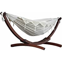Vivere 8.5' Double Cotton Hammock with Solid Pine Arc Stand