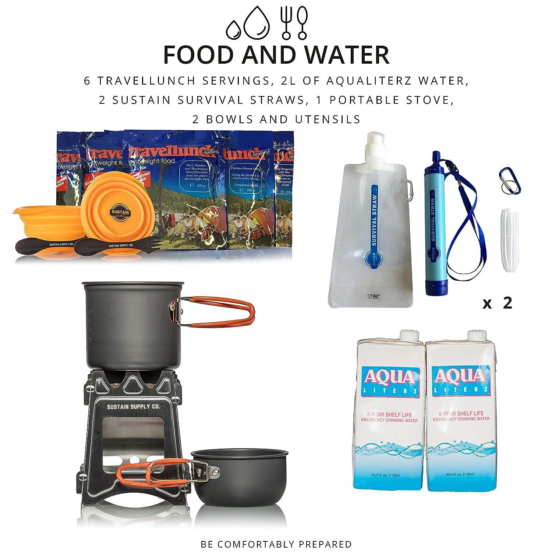 mit hochwertigem Equipment Essen und Trinken /Überlebenstasche f/ür 2 Personen sichert eine Versorgung von 72 Stunden nach einer Katastrophe Comfort 2